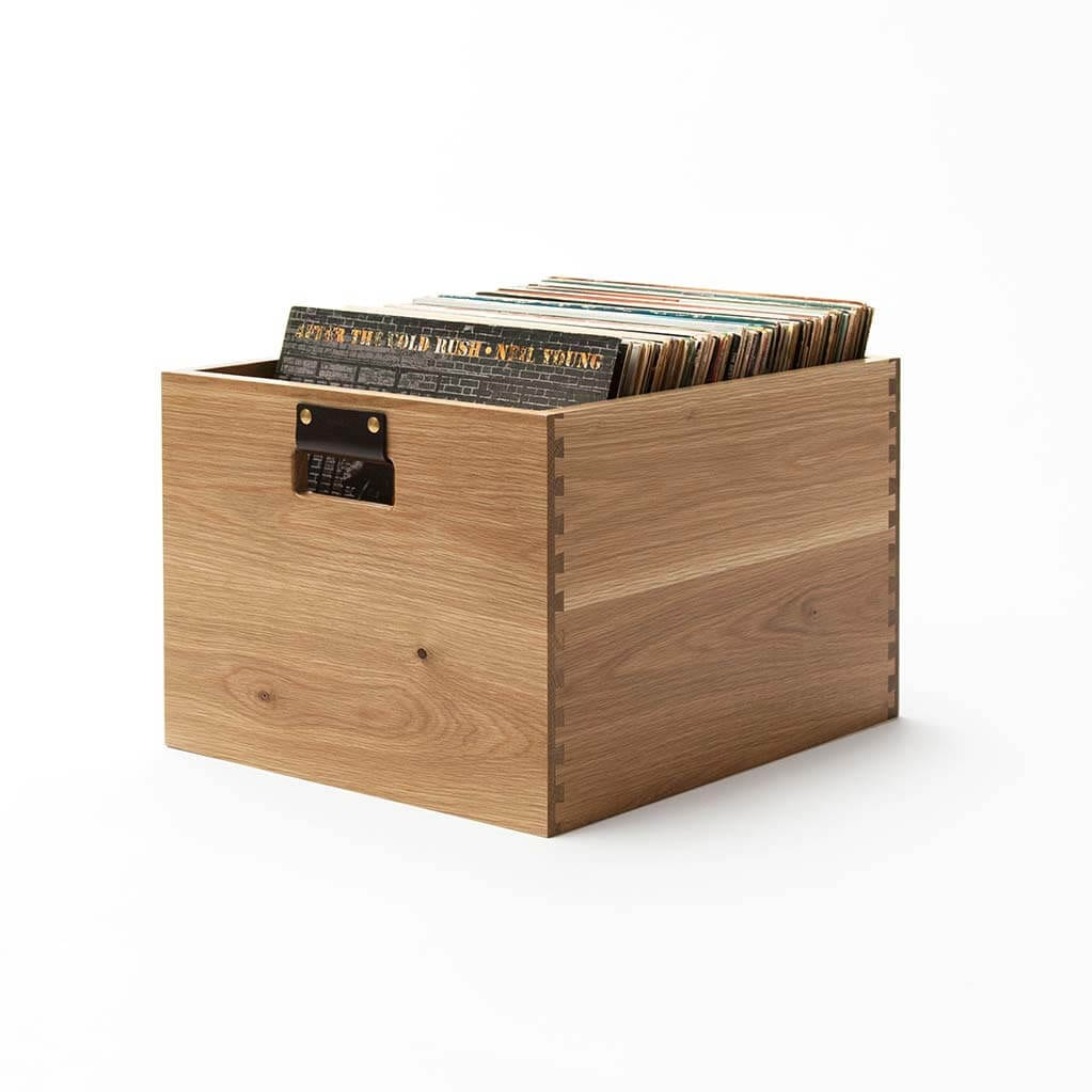 Dovetail Record Crate Oak Vinyl storage bin created from fine North American hardwoods. Holds 100 LPs in flip-style storage.
