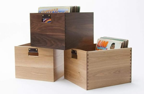 Dovetail Vinyl Record Storage flip bin constructed with premium North American hardwoods stacked on top of each other.