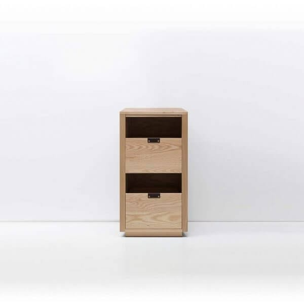 Dovetail Vinyl Storage Cabinet 1x2 with room for 180 records in premium North American hardwood construction. Includes light ash wood finish, soft-close under-mount drawers slides, and tanned leather handles.