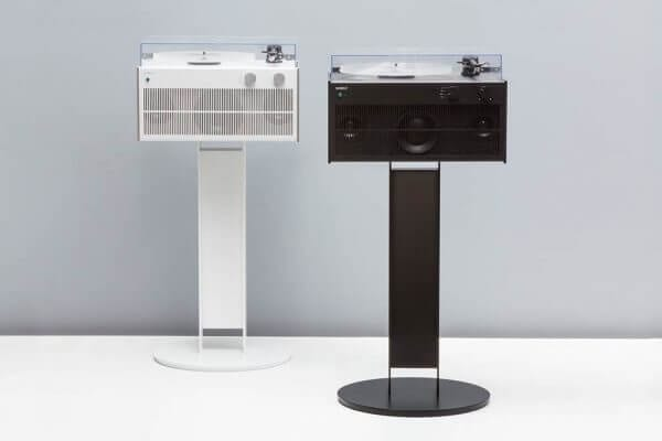 Modern Record Players display with premium black and white exterior on sturdy record player stands to create high-fidelity sound with a custom hand-built amplifier.